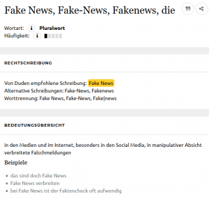 Definition von Fake News im Duden