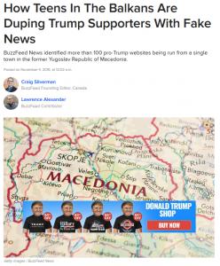 Bericht von Buzzfeed zu Fake News von mazedonischen Teenagern
